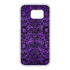 Damask2 Black Marble & Purple Brushed Metal Samsung Galaxy S7 Edge White Seamless Case by trendistuff