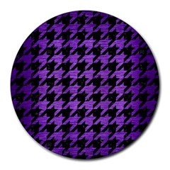 Houndstooth1 Black Marble & Purple Brushed Metal Round Mousepads