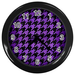 Houndstooth1 Black Marble & Purple Brushed Metal Wall Clocks (black) by trendistuff
