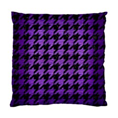 Houndstooth1 Black Marble & Purple Brushed Metal Standard Cushion Case (two Sides) by trendistuff