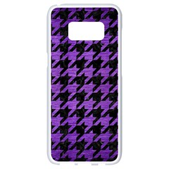 Houndstooth1 Black Marble & Purple Brushed Metal Samsung Galaxy S8 White Seamless Case