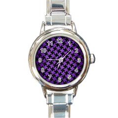 Houndstooth2 Black Marble & Purple Brushed Metal Round Italian Charm Watch by trendistuff