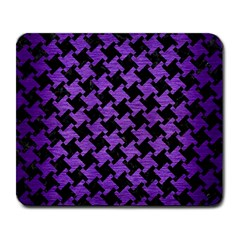 Houndstooth2 Black Marble & Purple Brushed Metal Large Mousepads by trendistuff