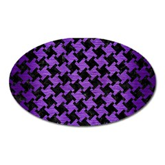 Houndstooth2 Black Marble & Purple Brushed Metal Oval Magnet by trendistuff