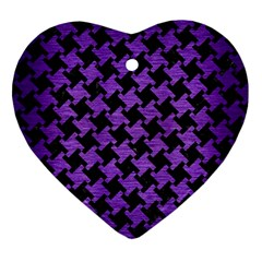 Houndstooth2 Black Marble & Purple Brushed Metal Heart Ornament (two Sides) by trendistuff