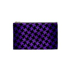 Houndstooth2 Black Marble & Purple Brushed Metal Cosmetic Bag (small)  by trendistuff