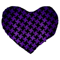 Houndstooth2 Black Marble & Purple Brushed Metal Large 19  Premium Heart Shape Cushions by trendistuff