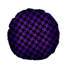 Houndstooth2 Black Marble & Purple Brushed Metal Standard 15  Premium Flano Round Cushions by trendistuff