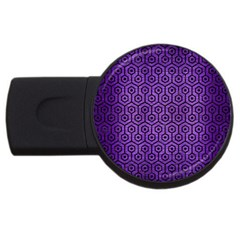Hexagon1 Black Marble & Purple Brushed Metal Usb Flash Drive Round (4 Gb)