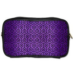 Hexagon1 Black Marble & Purple Brushed Metal Toiletries Bags by trendistuff