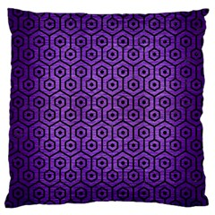 Hexagon1 Black Marble & Purple Brushed Metal Large Cushion Case (two Sides) by trendistuff