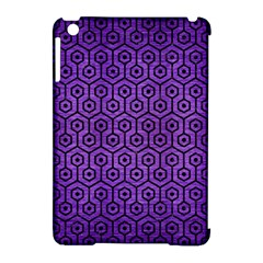 Hexagon1 Black Marble & Purple Brushed Metal Apple Ipad Mini Hardshell Case (compatible With Smart Cover)