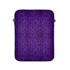 Hexagon1 Black Marble & Purple Brushed Metal Apple Ipad 2/3/4 Protective Soft Cases by trendistuff