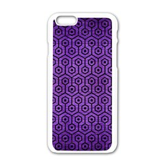 Hexagon1 Black Marble & Purple Brushed Metal Apple Iphone 6/6s White Enamel Case by trendistuff