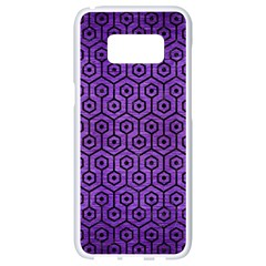 Hexagon1 Black Marble & Purple Brushed Metal Samsung Galaxy S8 White Seamless Case by trendistuff