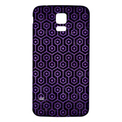 Hexagon1 Black Marble & Purple Brushed Metal (r) Samsung Galaxy S5 Back Case (white) by trendistuff
