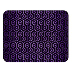 Hexagon1 Black Marble & Purple Brushed Metal (r) Double Sided Flano Blanket (large)  by trendistuff