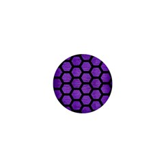 Hexagon2 Black Marble & Purple Brushed Metal 1  Mini Buttons by trendistuff