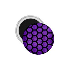 Hexagon2 Black Marble & Purple Brushed Metal 1 75  Magnets by trendistuff