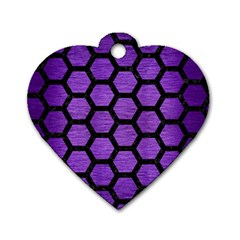 Hexagon2 Black Marble & Purple Brushed Metal Dog Tag Heart (one Side) by trendistuff