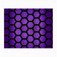 Hexagon2 Black Marble & Purple Brushed Metal Small Glasses Cloth (2 Side) by trendistuff