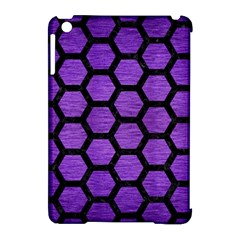 Hexagon2 Black Marble & Purple Brushed Metal Apple Ipad Mini Hardshell Case (compatible With Smart Cover) by trendistuff