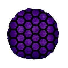 Hexagon2 Black Marble & Purple Brushed Metal Standard 15  Premium Round Cushions by trendistuff