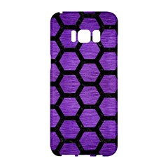 Hexagon2 Black Marble & Purple Brushed Metal Samsung Galaxy S8 Hardshell Case  by trendistuff