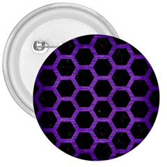 Hexagon2 Black Marble & Purple Brushed Metal (r) 3  Buttons by trendistuff