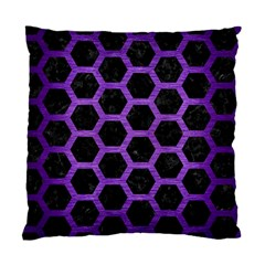 Hexagon2 Black Marble & Purple Brushed Metal (r) Standard Cushion Case (two Sides) by trendistuff