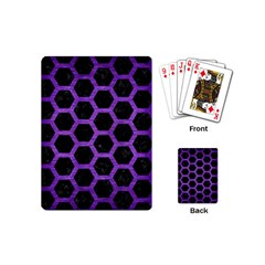 Hexagon2 Black Marble & Purple Brushed Metal (r) Playing Cards (mini)  by trendistuff