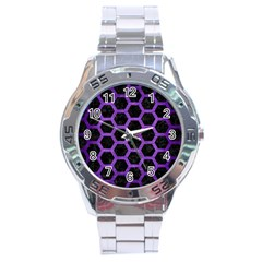 Hexagon2 Black Marble & Purple Brushed Metal (r) Stainless Steel Analogue Watch