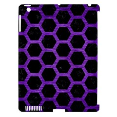 Hexagon2 Black Marble & Purple Brushed Metal (r) Apple Ipad 3/4 Hardshell Case (compatible With Smart Cover) by trendistuff