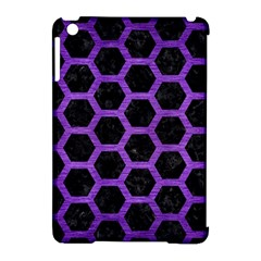 Hexagon2 Black Marble & Purple Brushed Metal (r) Apple Ipad Mini Hardshell Case (compatible With Smart Cover) by trendistuff