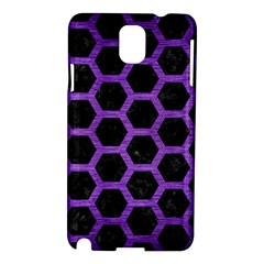Hexagon2 Black Marble & Purple Brushed Metal (r) Samsung Galaxy Note 3 N9005 Hardshell Case by trendistuff