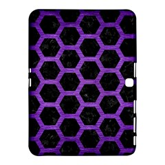 Hexagon2 Black Marble & Purple Brushed Metal (r) Samsung Galaxy Tab 4 (10 1 ) Hardshell Case  by trendistuff