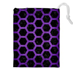 Hexagon2 Black Marble & Purple Brushed Metal (r) Drawstring Pouches (xxl) by trendistuff