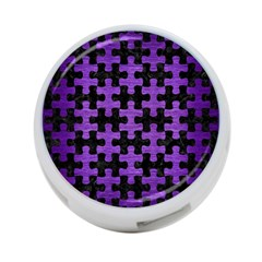 Puzzle1 Black Marble & Purple Brushed Metal 4 Port Usb Hub (two Sides)  by trendistuff