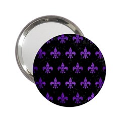 Royal1 Black Marble & Purple Brushed Metal 2 25  Handbag Mirrors by trendistuff