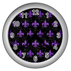 Royal1 Black Marble & Purple Brushed Metal Wall Clocks (silver)  by trendistuff