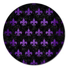 Royal1 Black Marble & Purple Brushed Metal Magnet 5  (round) by trendistuff