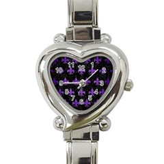 Royal1 Black Marble & Purple Brushed Metal Heart Italian Charm Watch