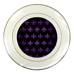Royal1 Black Marble & Purple Brushed Metal Porcelain Plates by trendistuff