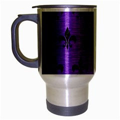 Royal1 Black Marble & Purple Brushed Metal (r) Travel Mug (silver Gray) by trendistuff