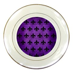 Royal1 Black Marble & Purple Brushed Metal (r) Porcelain Plates by trendistuff