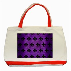 Royal1 Black Marble & Purple Brushed Metal (r) Classic Tote Bag (red) by trendistuff