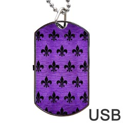 Royal1 Black Marble & Purple Brushed Metal (r) Dog Tag Usb Flash (one Side) by trendistuff