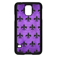 Royal1 Black Marble & Purple Brushed Metal (r) Samsung Galaxy S5 Case (black) by trendistuff