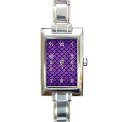Scales1 Black Marble & Purple Brushed Metal Rectangle Italian Charm Watch by trendistuff