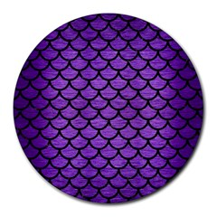 Scales1 Black Marble & Purple Brushed Metal Round Mousepads by trendistuff